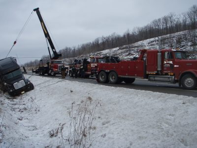 Our towing truck towing a semi